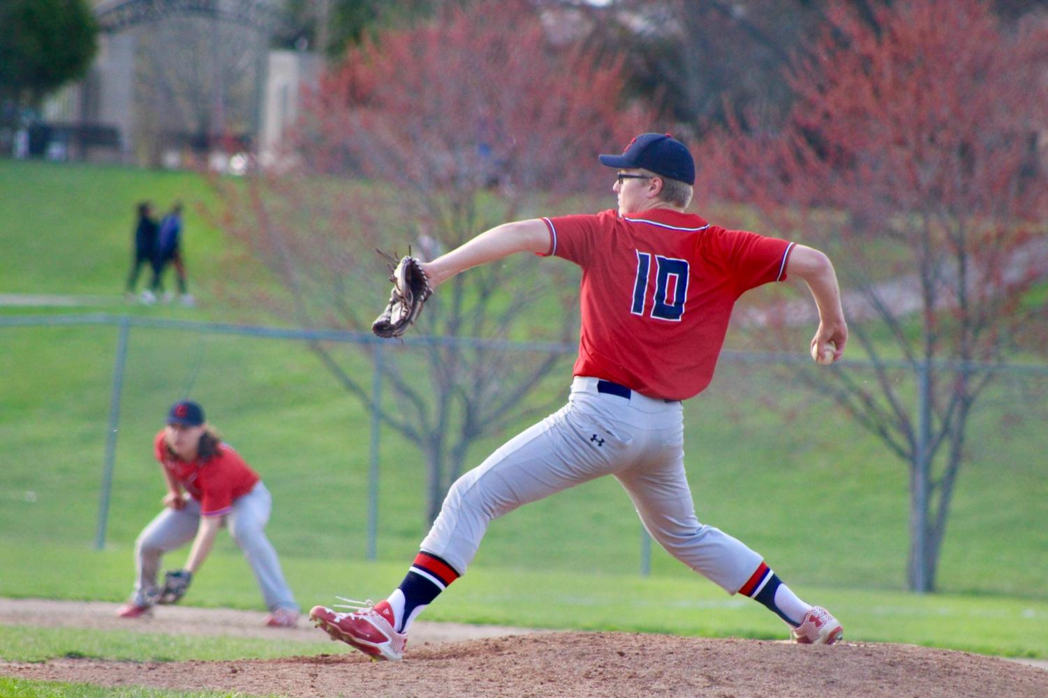 Senior Chad Stevens fires a pitch. Photo courtesy the yearbook staff.